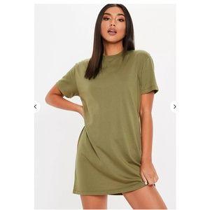 Missguided Khaki Basic T-shirt Dress
